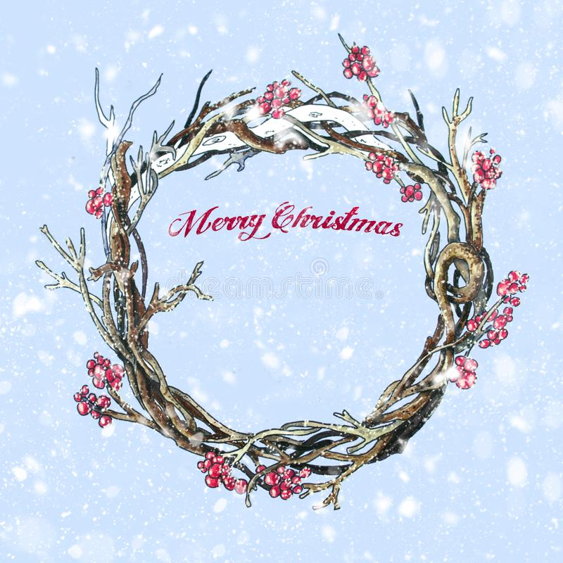 Christmas wreath on blue background. Hand drawn sketch stock illustration