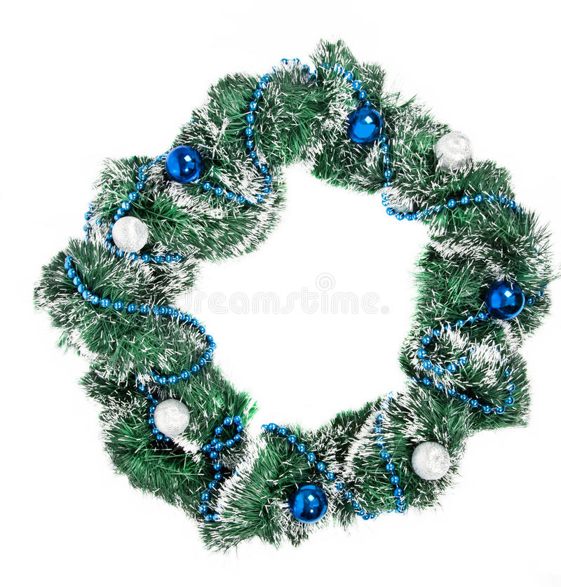 Christmas Wreath With Blue And Silver Decorations Stock