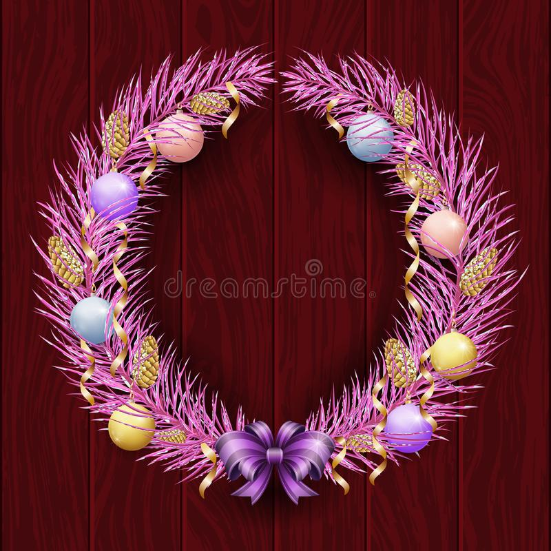 Christmas wreath border. Frame of violet pine. Merry Christmas and Happy New Year 2019. Purple branches of a Christmas tree in the stock illustration
