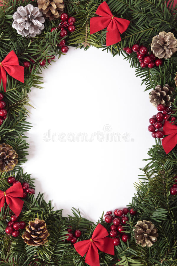 Download Christmas Wreath Border With White Copy Space Vertical Stock Image