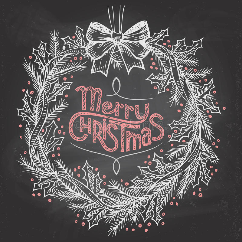 Christmas wreath with chalk stock illustration