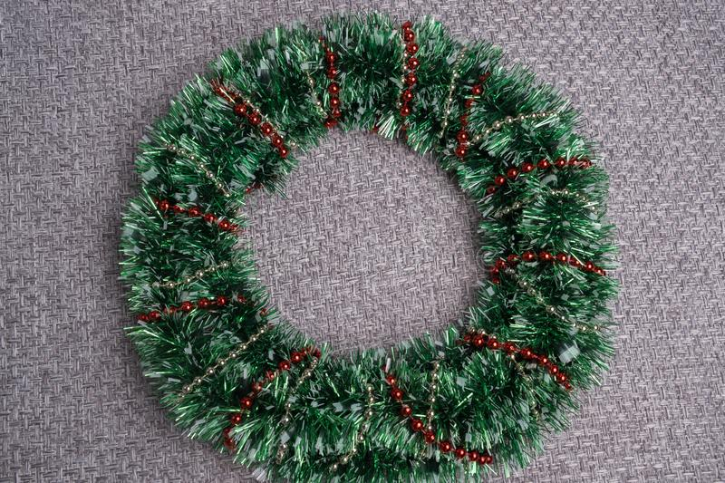 Christmas wreath. Christmas decoration of tinsel. stock photography