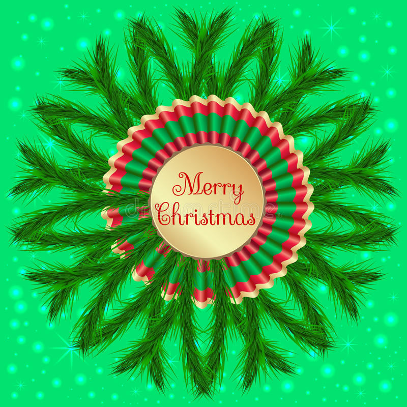 Christmas wreath with colorful confetti on light green background royalty free illustration