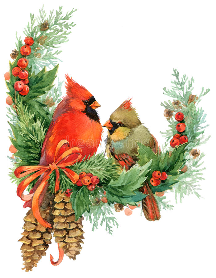 Christmas Wreath And Cute Birds Watercolor Illustration
