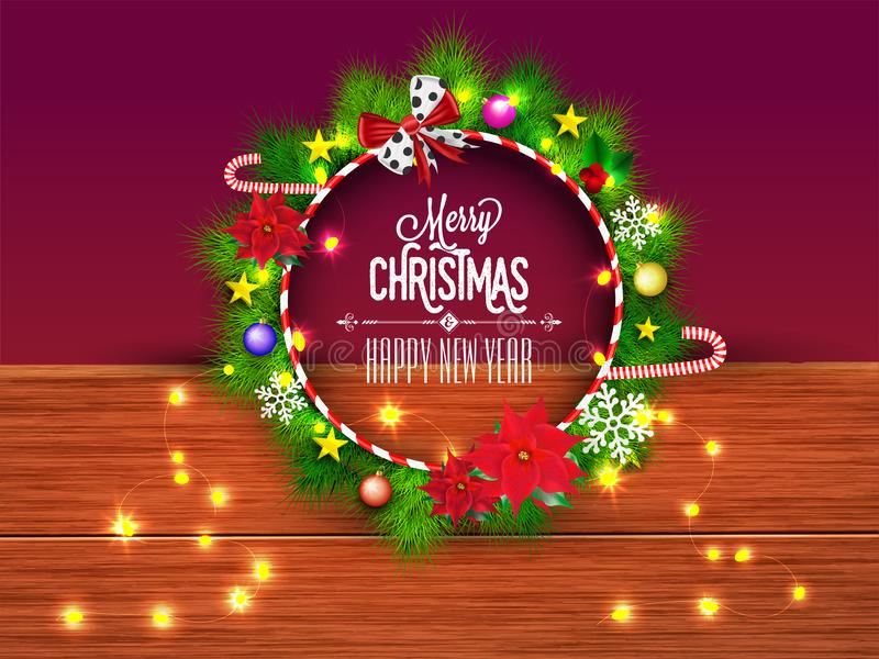Christmas wreath decorated with festival elements on brown wooden texture background for festival celebration concept. royalty free illustration