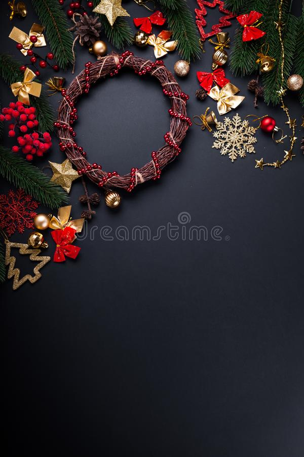 Christmas wreath with decoration. Christmas and New Year background stock image