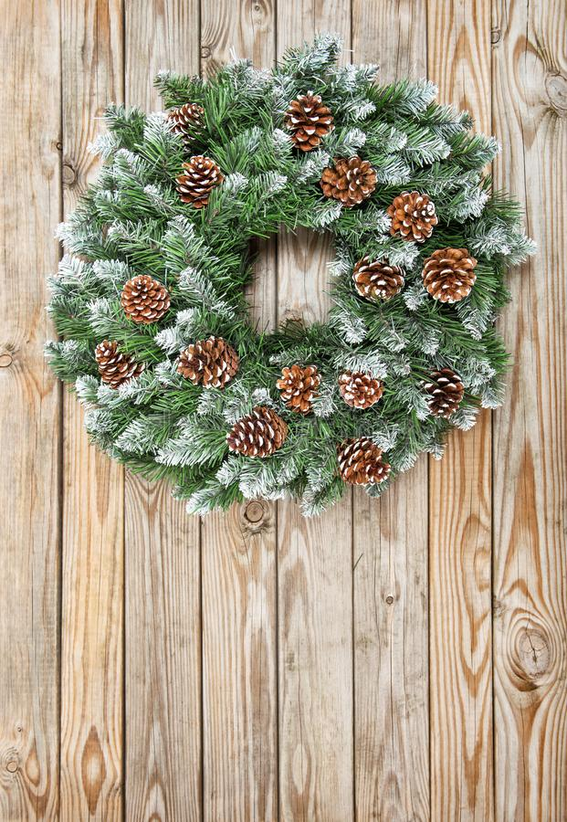 Christmas wreath decoration rustic wooden background royalty free stock photos