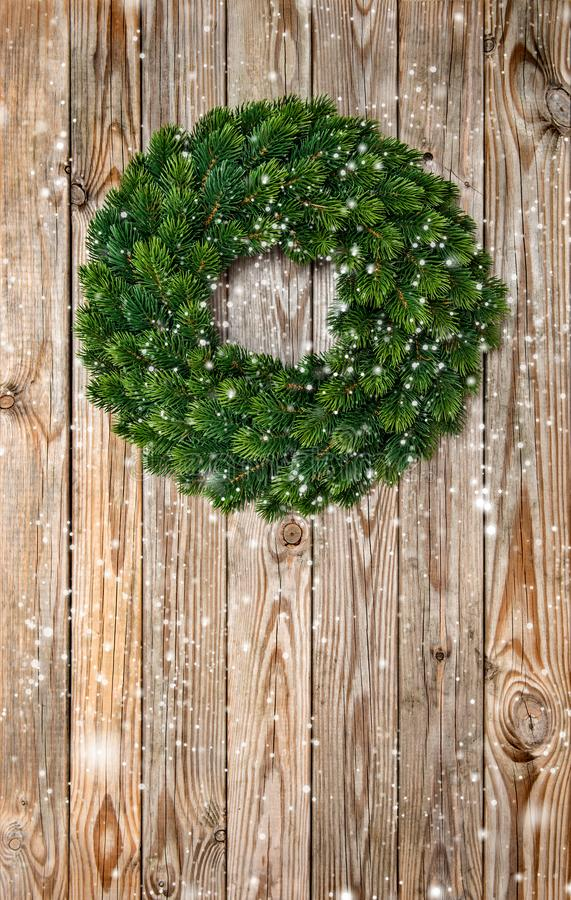 Christmas wreath decoration wooden background dark vintage royalty free stock images