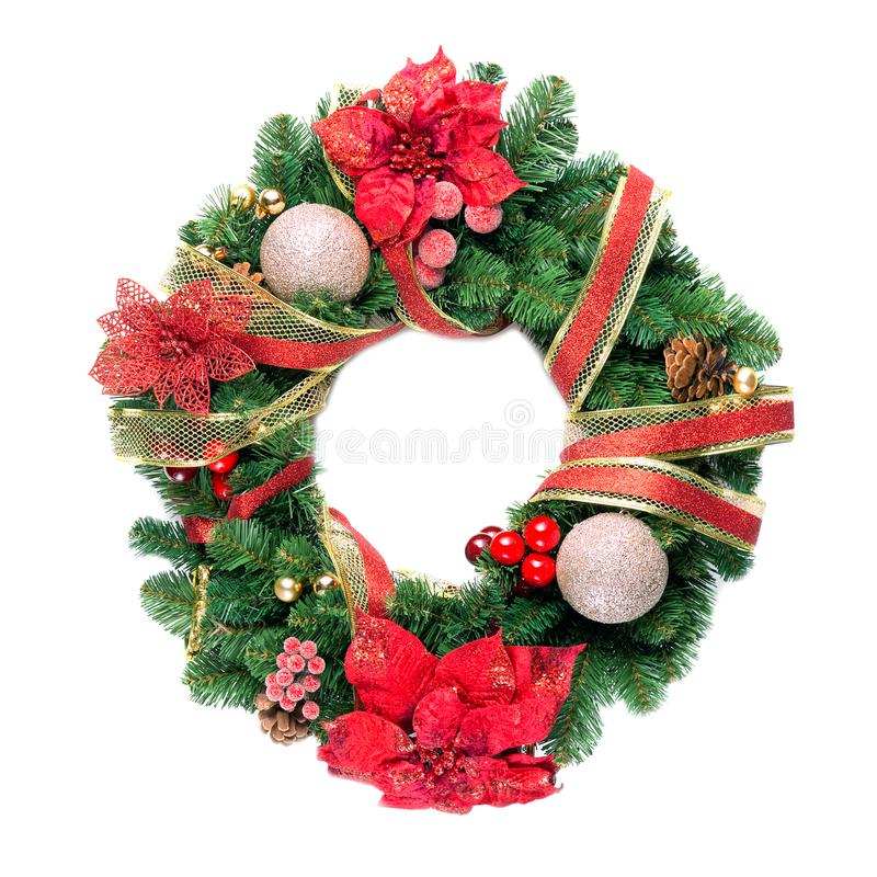 Christmas wreath with decorations isolated on white background stock photography