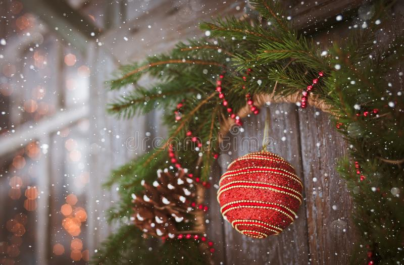 Christmas wreath on a door with bump and a ball horizontal stock images