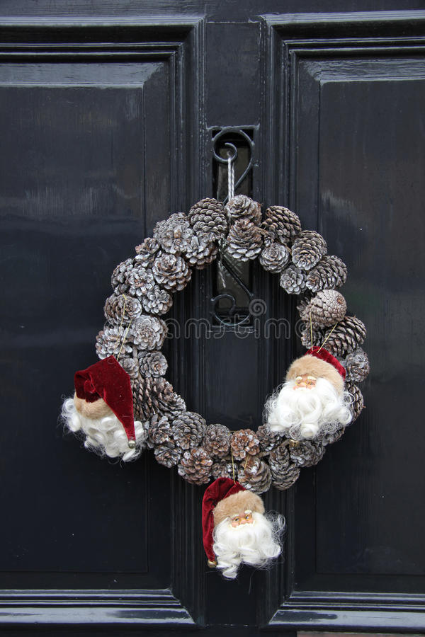 Christmas wreath on a door royalty free stock photography