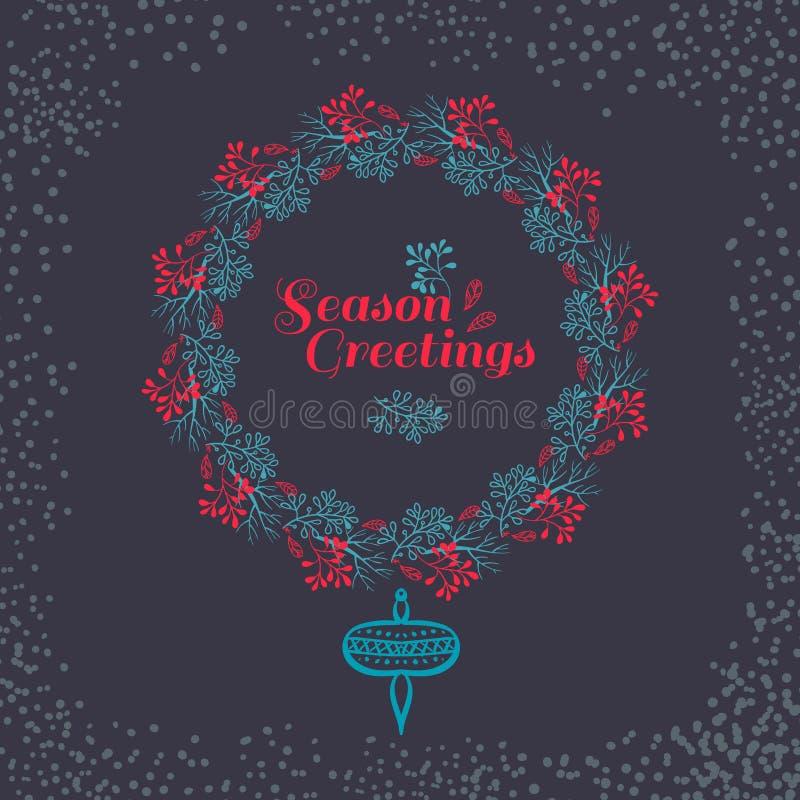 Christmas wreath drawn. Vector set stock illustration