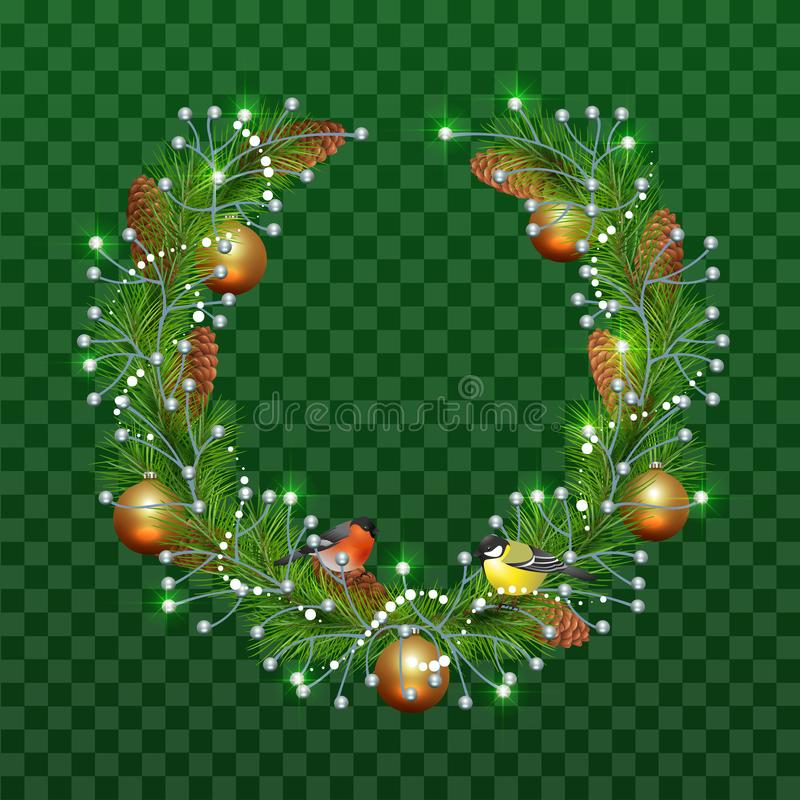 Christmas wreath of fir branches on transparent green background. Holiday decoration christmas balls, pine cones, bullfinch and ti royalty free illustration