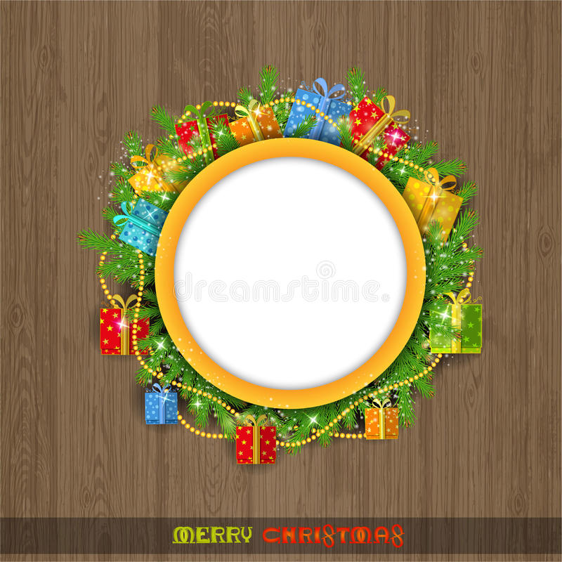Christmas wreath with fir present boxes and bead on old wood background. Round place in wreath for your text. Or label royalty free illustration