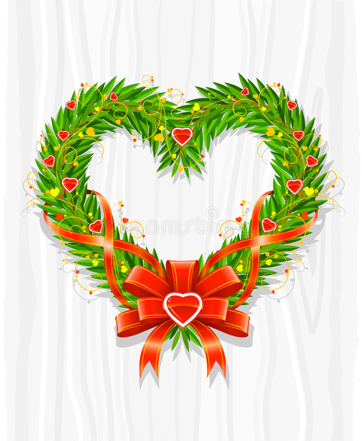 Download Christmas Wreath In Form Of Heart Stock Vector - Illustration of celebration, ornate: 6946634