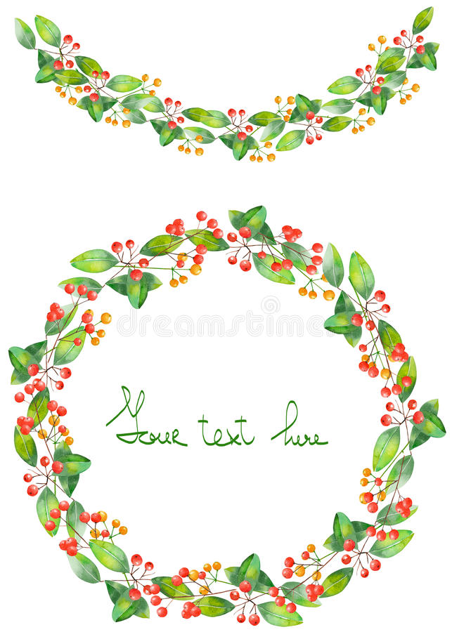Christmas wreath (frame) and garland of watercolor branches with the red berries and green leaves stock illustration