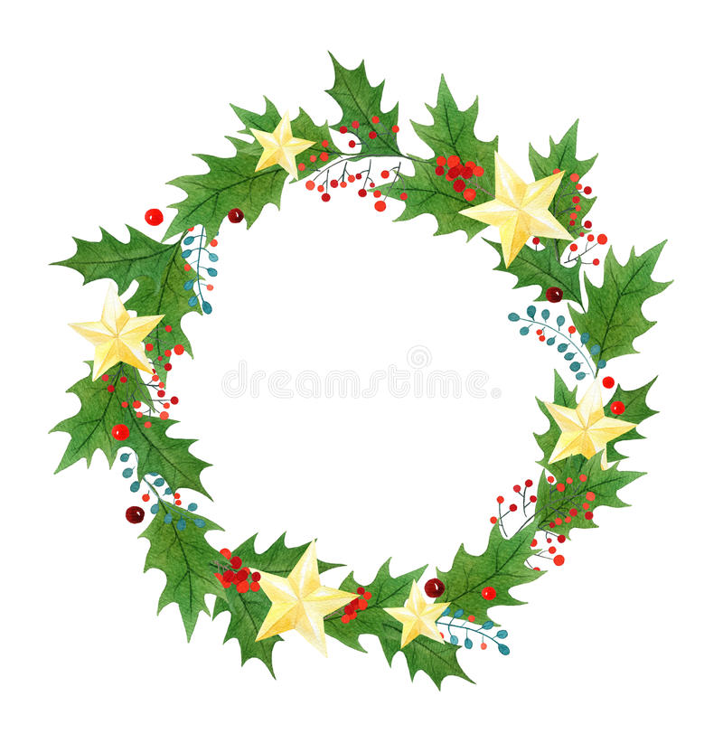 Christmas wreath or frame with holly berries, leaves and golden stars painted in watercolor on a white background royalty free illustration