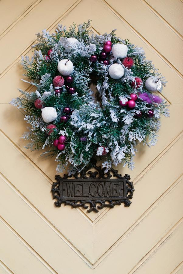 Christmas Wreath - Front Door Decor. Winter Background royalty free stock image