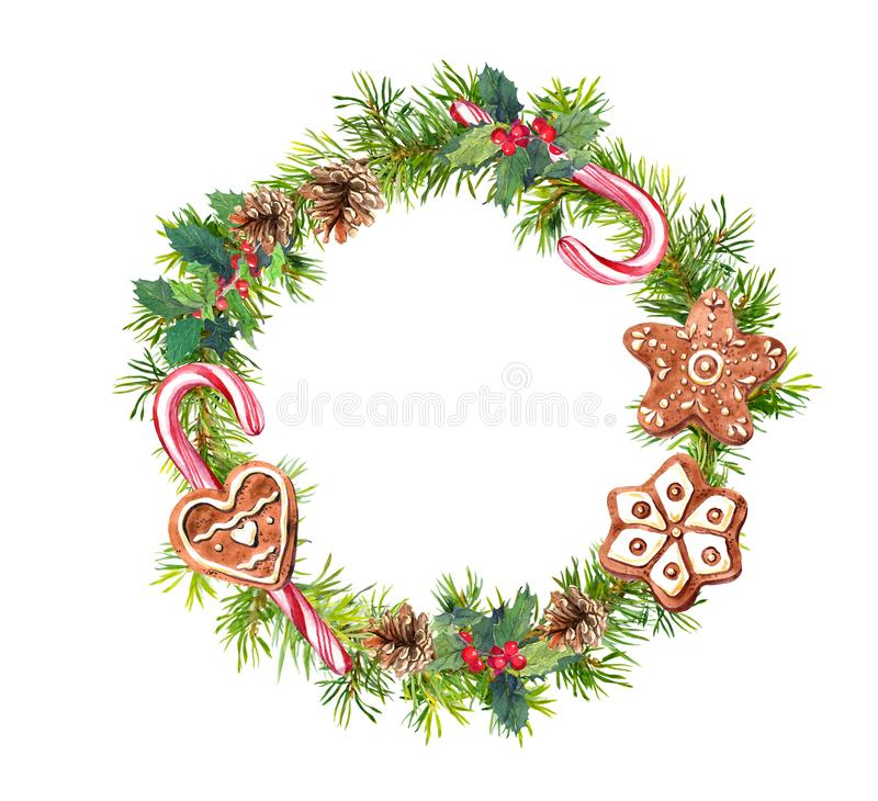 Christmas wreath with gingerbread cookies, candy canes. Watercolor - pine tree branches, mistletoe, cones. Christmas wreath with gingerbread cookies and candy vector illustration