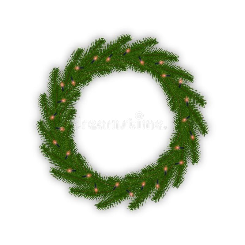 Christmas wreath with glowing lights garland. Fir tree Xmas decoration with lights stock illustration