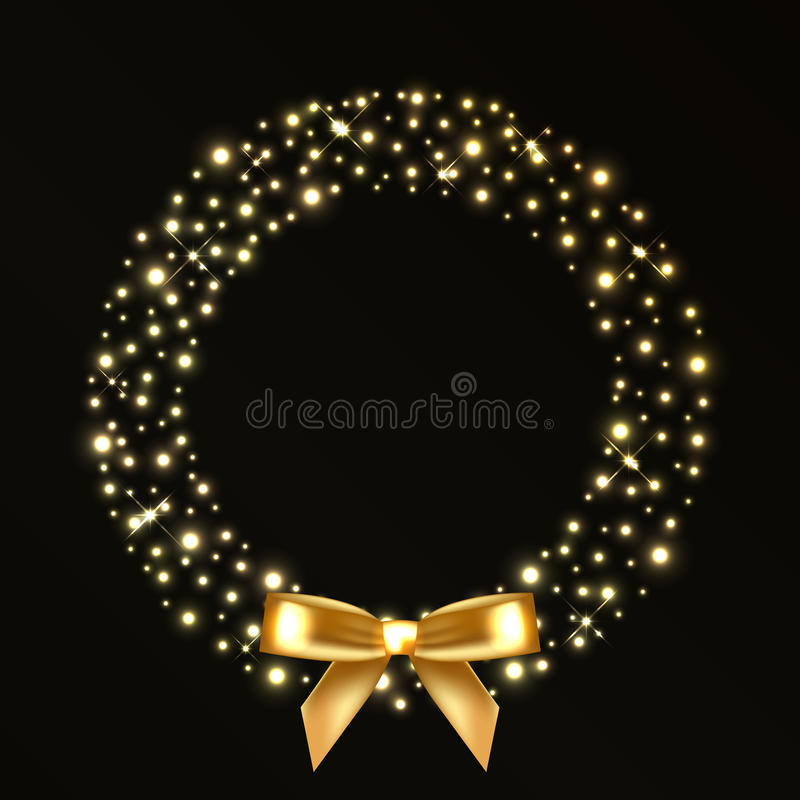 Christmas Wreath From Gold Lights Stock Photos Image 35113733 - Christmas Wreath Lights