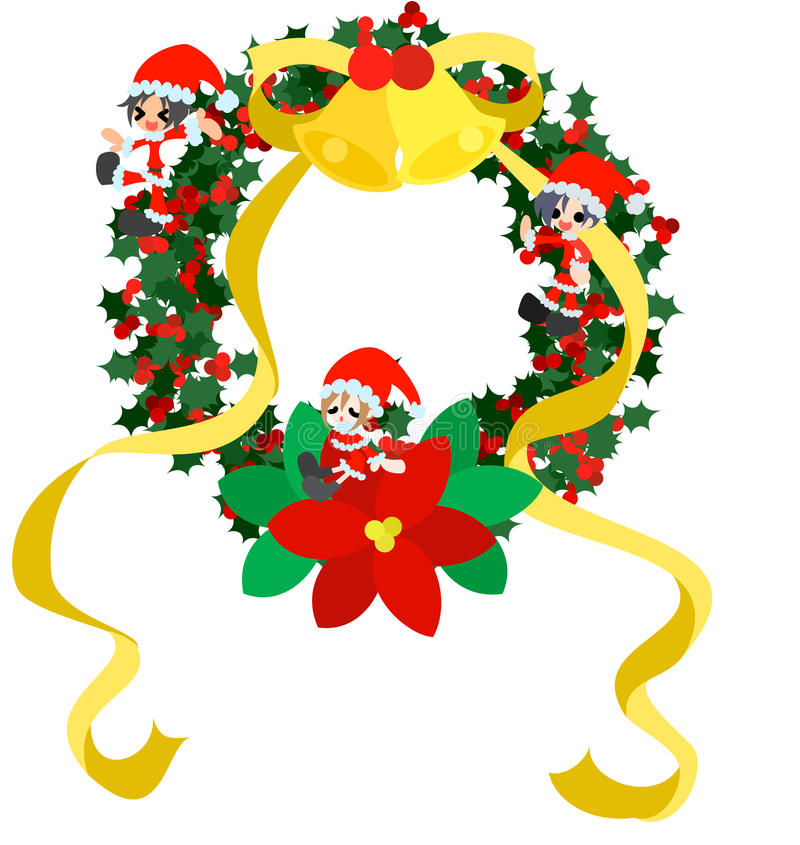Download Christmas Wreath -Green- stock vector. Image of flower - 27420115
