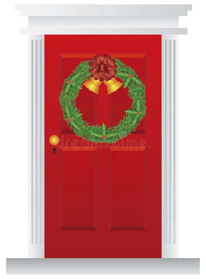 Christmas Wreath Hanging On Red Door Illustration Stock Photography