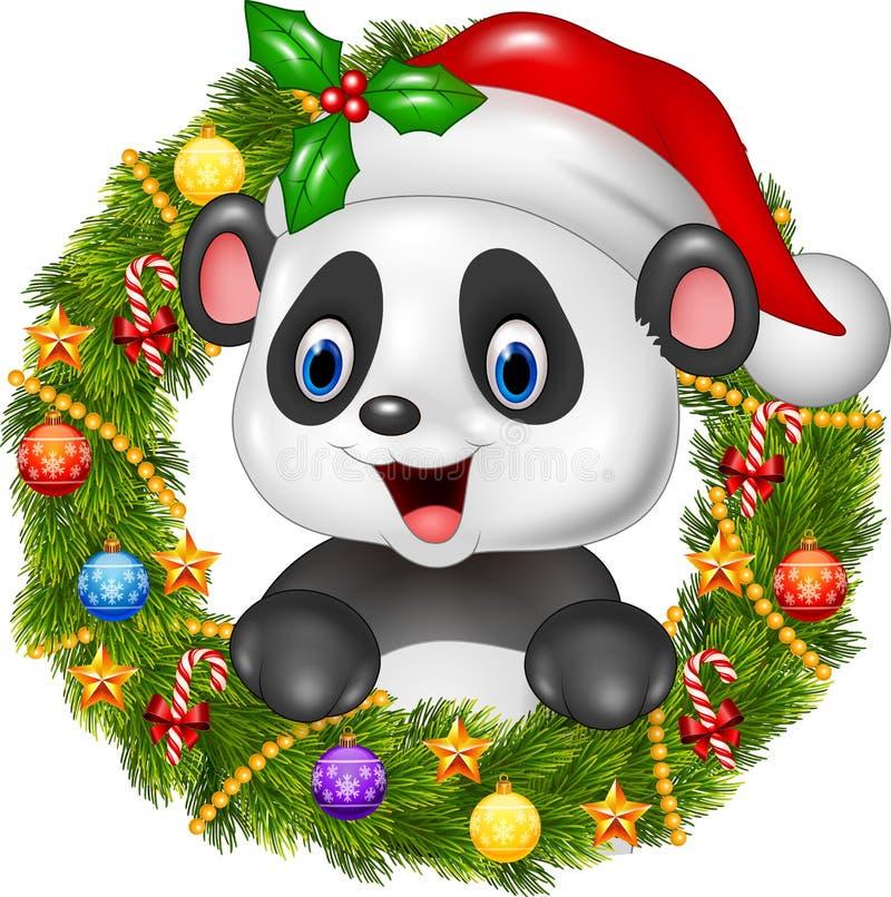 Christmas wreath with happy panda bear royalty free illustration