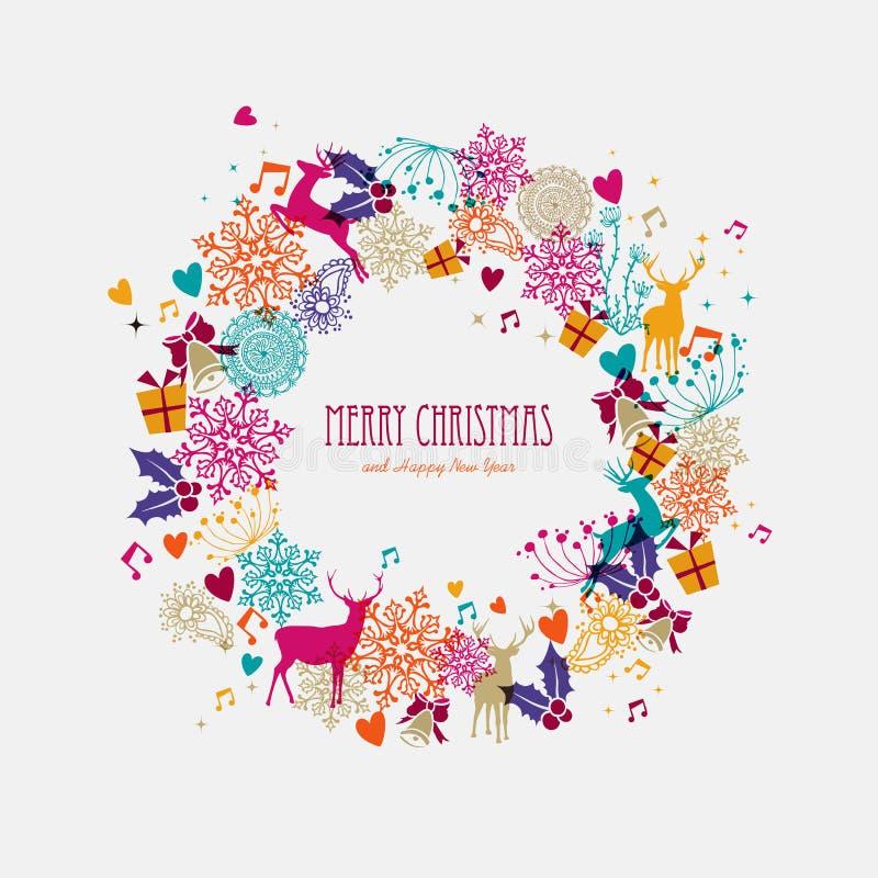 Merry Christmas Illustration: Christmas Wreath Holiday Elements Illustration Stock