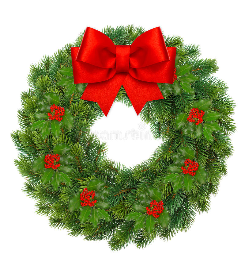 Christmas wreath with holly berry and red ribbon bow royalty free stock image
