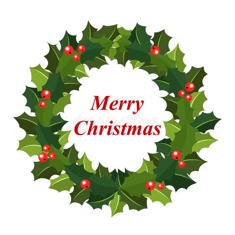 Christmas wreath of holly stock photos