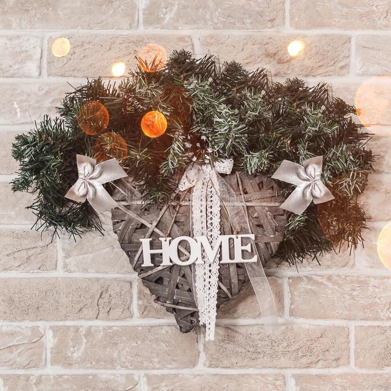 Christmas wreath for home with branch of fir and decoration. stock photos