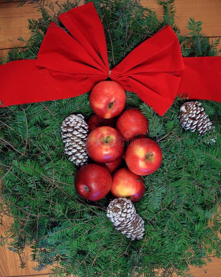 Christmas wreath on horizontal boards royalty free stock image