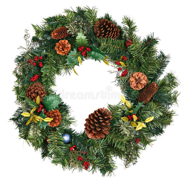Free Christmas Wreath Isolated Royalty Free Stock Photography - 6847587