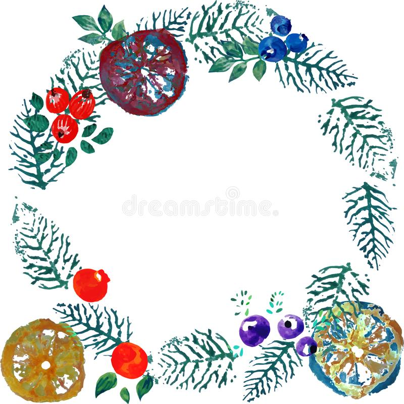 Christmas wreath with dried oranges watercolor. Christmas wreath of leaves, cranberries, dried orange blueberries vector illustration
