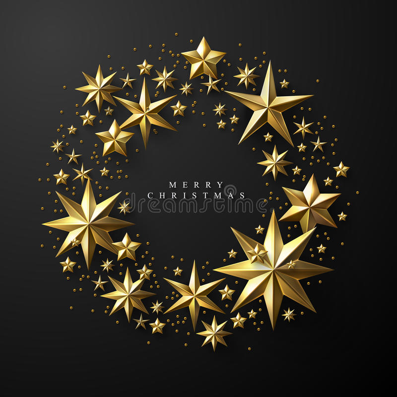 Christmas Wreath made of Cutout Gold Foil Stars royalty free illustration
