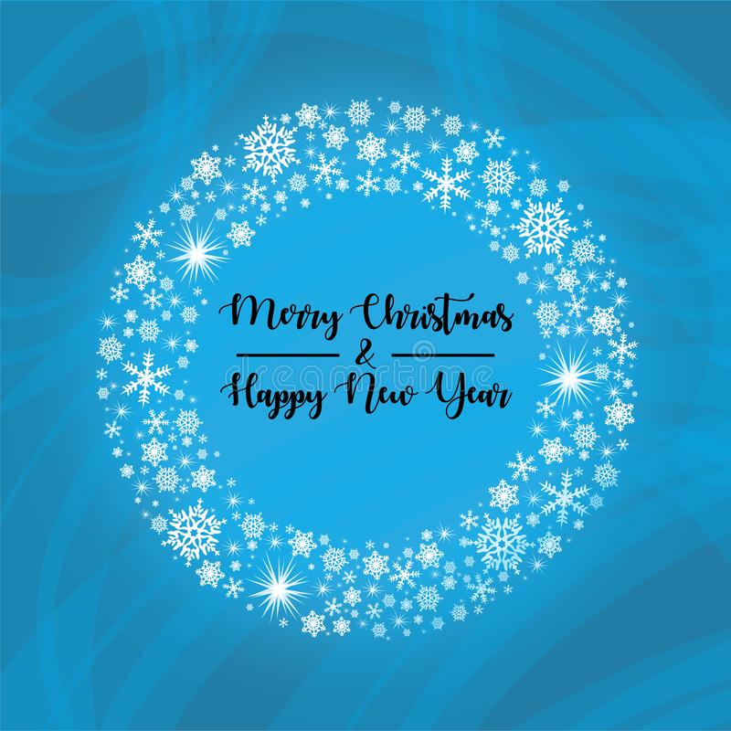 Snowflake Christmas Wreath. Christmas wreath made from snowflakes and stars on a blue background, with merry christmas and a happy new year words stock illustration
