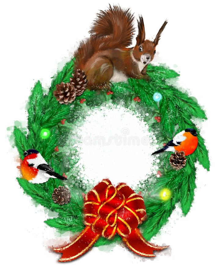 Christmas illustration with fir wreath, bullfinch and squirrel. royalty free stock photography
