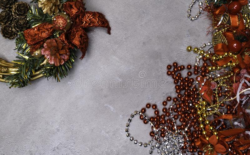 Christmas wreath and New Year decoration background with copy space stock image