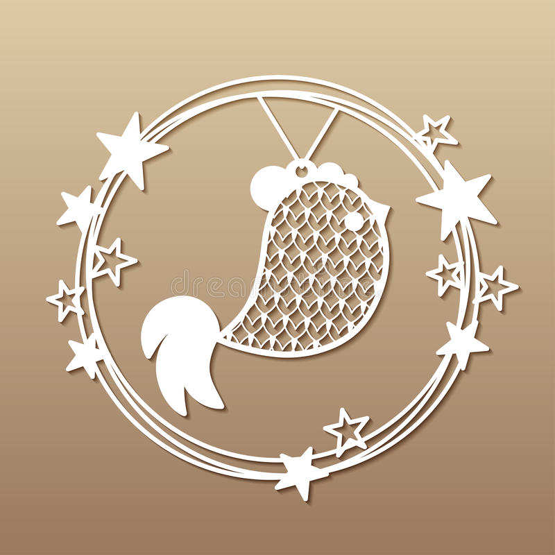 Christmas wreath with openwork rooster and stars. stock illustration