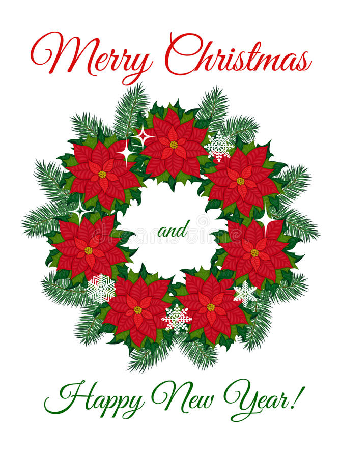 Christmas wreath of poinsettia flowers stock images