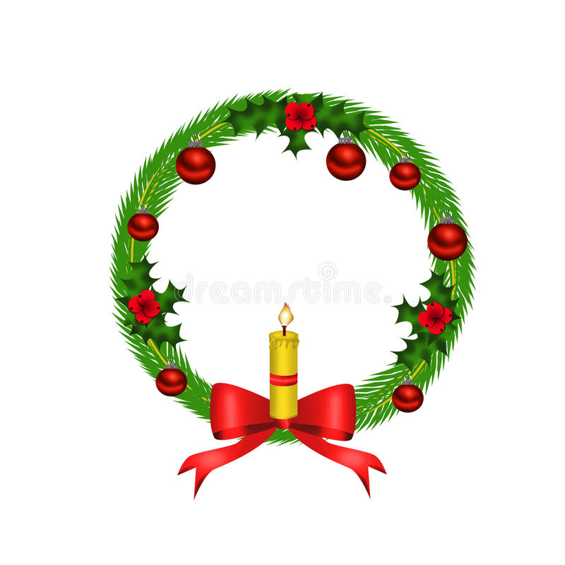 Download Christmas Wreath With Red Bow And Candle Stock Illustration - Image: 20937222
