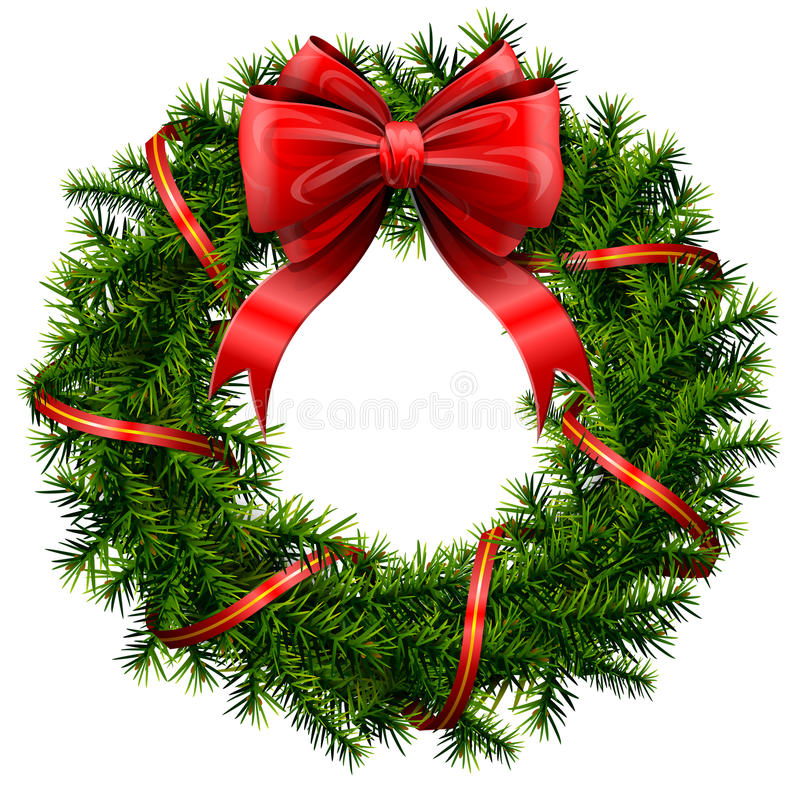 Christmas wreath with red bow and ribbon vector illustration