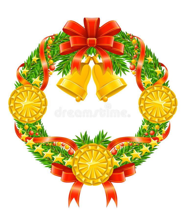 Download Christmas Wreath With Red Ribbon And Bells Stock Vector - Illustration of isolated, garland: 6924571