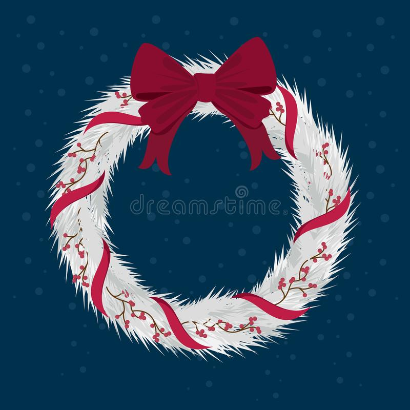 Christmas Wreath with ribbons with red bow. royalty free illustration