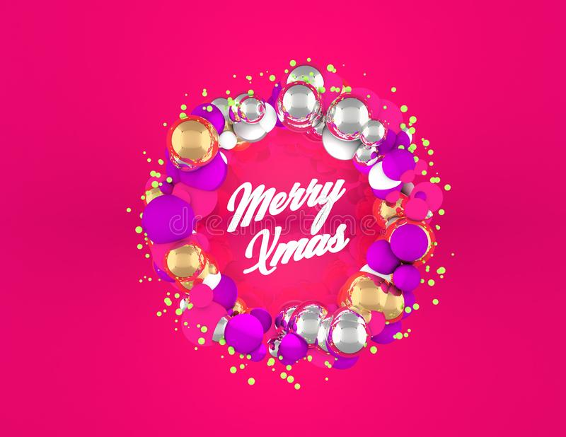 Christmas Wreath with spheres and pink background royalty free stock images
