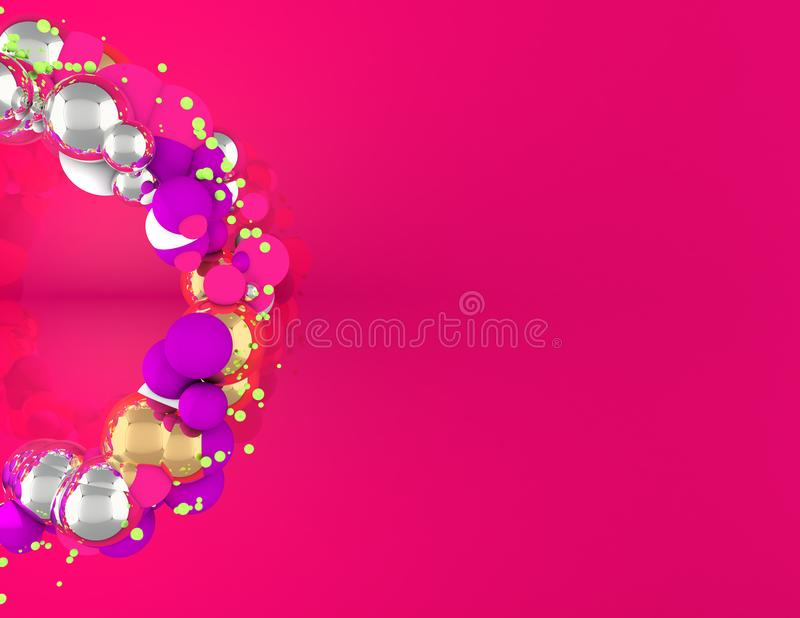 Christmas Wreath with spheres and pink background royalty free stock image
