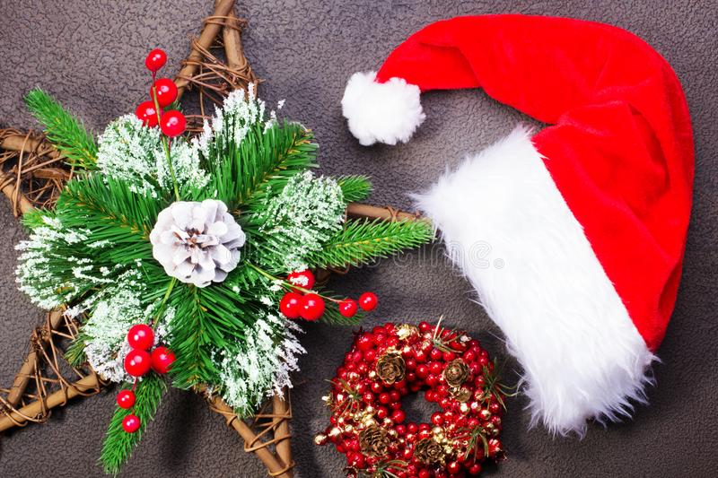 Christmas wreath with spruce stock image
