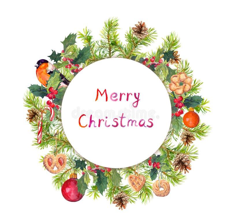 Christmas wreath - spruce tree branches, mistletoe, bird, cookies. Watercolor royalty free stock photos