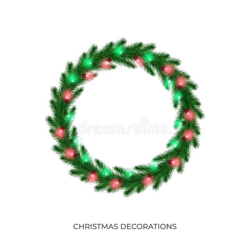 Christmas wreath with string lights garland. Winter seasonal decoration for Xmas celebration royalty free illustration